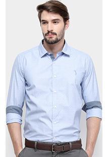 Camisa Manga Longa Aleatory Slim Fit Mini Print Masculina - Masculino