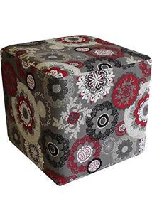 Puff Decorativo Quadrado Tecido Floral Vermelho - Nay Estofados