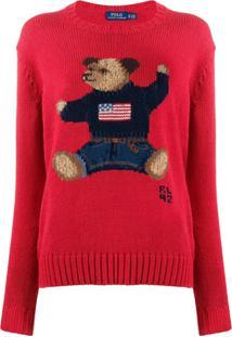 Polo Ralph Lauren Suéter De Tricô Teddy Bear - Vermelho