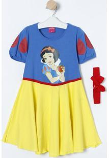Camisola Branca De Neve® Com Faixa- Azul & Amarelalupo