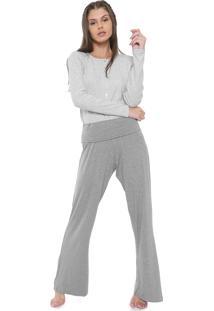 Pijama Laibel Liso Cinza