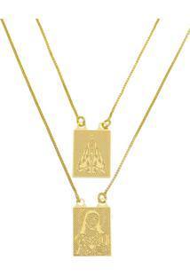 Escapulário Jesus E Nossa Senhora Tudo Joias Folheado A Ouro 18K Dourada