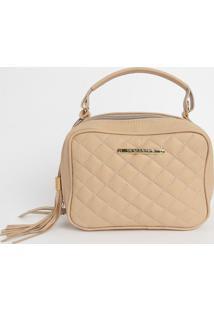 Bolsa Em Couro Matelass㪠Com Bag Charm- Bege- 16X22Xdi Marlys