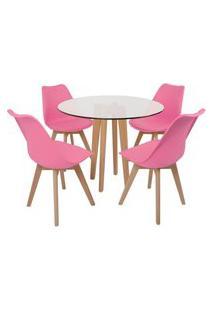 Conjunto Mesa De Jantar Em Vidro 90Cm Com Base Vértice + 4 Cadeiras Leda - Rosa