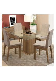 Conjunto Sala De Jantar Madesa Laila Mesa Tampo De Vidro Com 4 Cadeiras Marrom