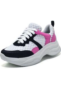 Tênis Sneaker Chunky Flor Da Pele 10619 Preto/Rosa - Kanui