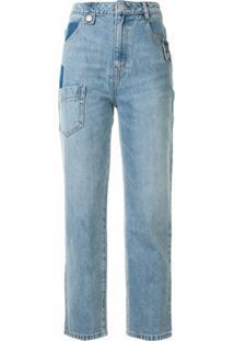Portspure Jaqueta Jeans Com Patchwork - Azul