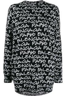 Balenciaga Suéter Com Estampa Paris - Preto