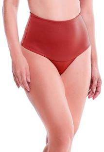 Calcinha Feminize Cintura Alta Com Pala Dupla Lisa - Feminino-Vermelho