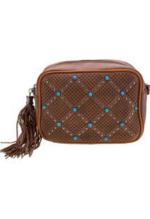 Bolsa Feminina Transversal Arara Dourada - Lt8148 Caramelo