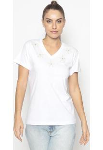Blusa Estrelas Com Brilho- Branca & Off White- Fashifashion 500