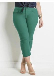Calça Beline Plus Size Cropped Sarja Quintess - Feminino-Verde