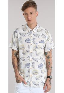 Camisa Estampada De Folhas Bege Claro