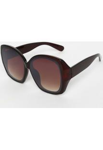 Óculos De Sol Quadrado- Marrom Escuro & Marrom- Les Les Bains Paris