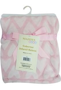 Cobertor Infantil De Coraã§Ãµes- Rosa Claro & Branco- Niazitex