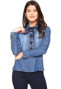 Camisa Jeans Lança Perfume Reta Lace Up Azul
