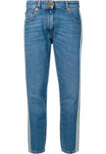 Versace Calça Jeans Com Listra - Azul