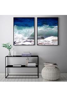 Quadro Oppen House 70X100Cm Onda Praias Dias De Sol Decorativo Interiores Sala De Estar Quartos Moldura Preta Com Vidro