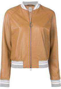 Eleventy Leather Bomber Jacket - Marrom