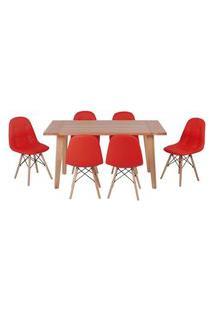 Conjunto Mesa De Jantar Em Madeira 150X80 Vértice + 6 Cadeiras Botonê - Vermelho