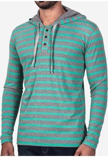 Camiseta Hermoso Compadre Henley Listrada Com Capu - Masculino