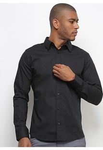 Camisa Colcci Fit Manga Longa Masculina - Masculino-Preto