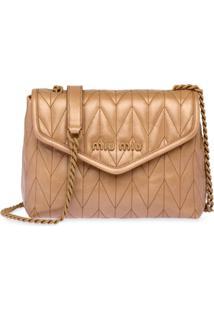 Miu Miu Shiny Matelassé Leather Shoulder Bag - Neutro