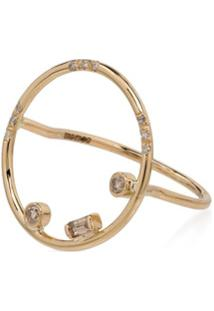 Xiao Wang Anel Gravity De Ouro 14K Com Diamante - Yellow Gold