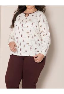 Pijama Longo Gola Com Recorte Pzama (90014) Plus Size