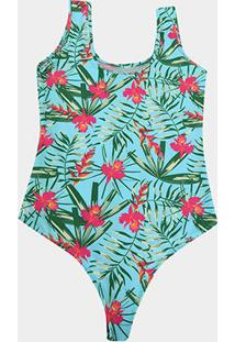 Body Naif Floral Plus Size - Feminino-Verde