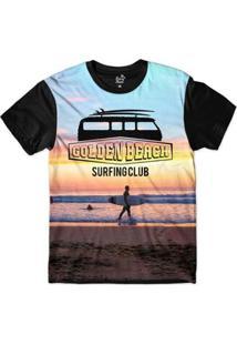 Camiseta Long Beach Kombi Golden Beach Sublimada Masculina - Masculino-Laranja+Preto