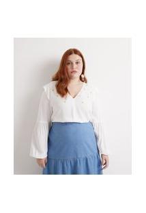 Blusa Bata Com Bordados De Magaridas Curve & Plus Size Branco