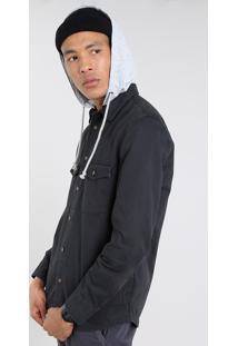 Camisa De Sarja Masculina Com Capuz Removível Em Moletom Preto