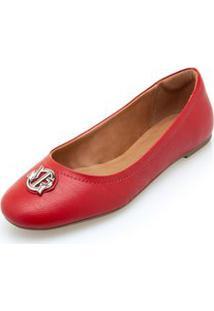 Sapatilha Morena Rosa Bico Redondo Enfeite Personalizado Vermelho - 34