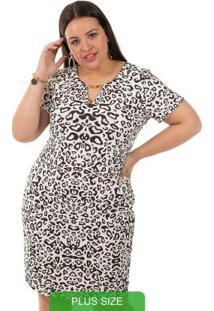 Vestido Estampado Bege Gris Plus Size