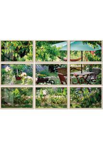 Quadro 120X180Cm Painel Jardim Luxuoso Moldura Natural Com Vidro