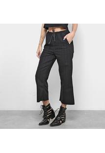 Calça Flare Calvin Klein Mid Listras Feminina - Feminino-Preto