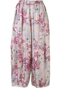 Biyan Calça Cropped Pixie Com Cintura Alta E Estampa - Rosa