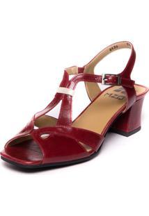 Sandalia Vermelha Em Couro Com Salto Medio - Amora / Araca 5393