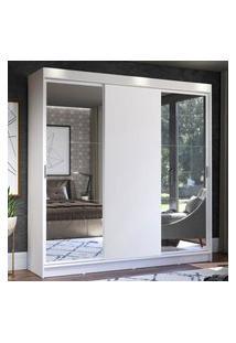 Guarda-Roupa Casal Madesa Istambul 3 Portas De Correr Com Espelhos 3 Gavetas - Branco Branco