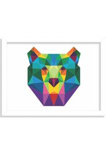 Quadro Decorativo Urso Abstrato Colorido Branco - Médio