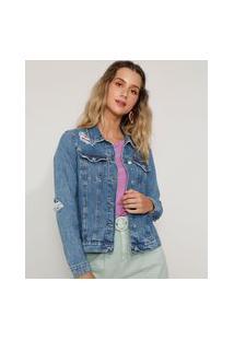 Jaqueta Jeans Feminina Destroyed Azul Médio