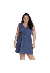 Vestido Marguerite Plus Size Curto Regata Transpassado Poás Azul