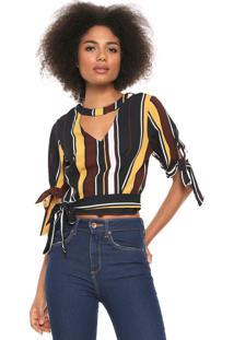 Blusa Cropped Lily Fashion Choker Azul-Marinho