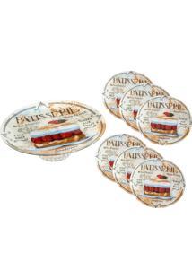 Conjunto 1 Prato P/Bolo C/Pé De 30Cm E 6 Pratos De 17Cm Em Vidro P/Sobremesa Patisserie Colorido