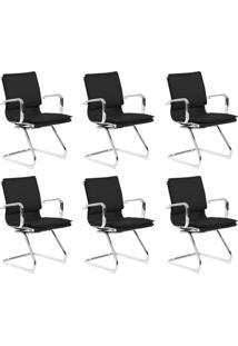 Conjunto Com 6 Cadeiras De Escritório Interlocutor Confort Fixa Preto