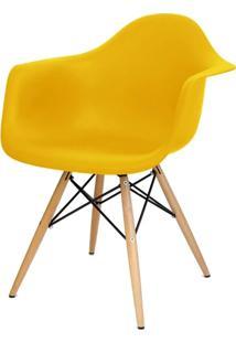 Cadeira Eames Com Braco Base Madeira Amarelo Fosco - 24500