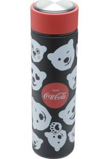 Garrafa Térmica Emborrachada Coca-Cola Urso Polar Aço Inox Preto 6,1 X 6,1 X 22 Cm 500 Ml