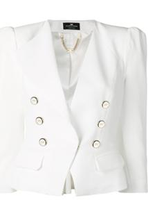 Elisabetta Franchi Blazer Cropped Com Abotoamento Duplo - Branco