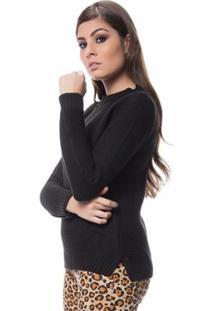 Blusa Logan Tricot Friz Na Frente Enas Mangas - Feminino-Preto